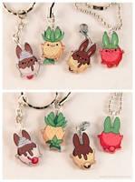 Food Bunny Acrylic Charms by pocket-sushi