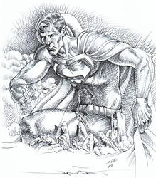 Superman felt that left hook. by EliseuGouveia