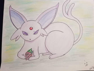 An Espeon and its berry by Kyria-Neko-Chan