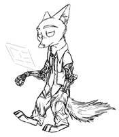 Nick Wilde cyberpunk sketch by MetaDragonArt