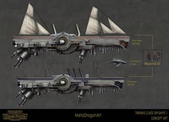 Taranis-Class Skyships 1 by MetaDragonArt