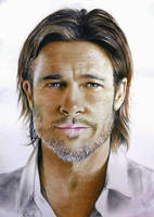 Drawing of Brad Pitt by PrithviArts