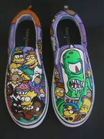 Custom Handpainted The Simpsons Slip On Shoes by rachelliles352