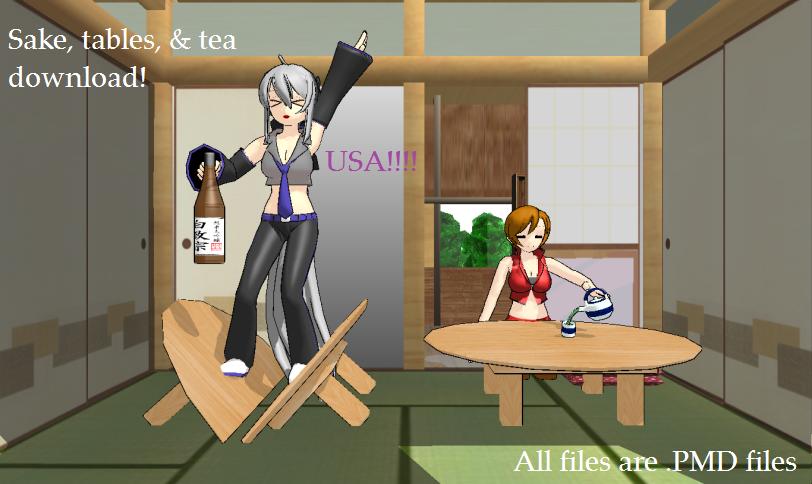 Sake, tables, and tea DL by scarletrose101