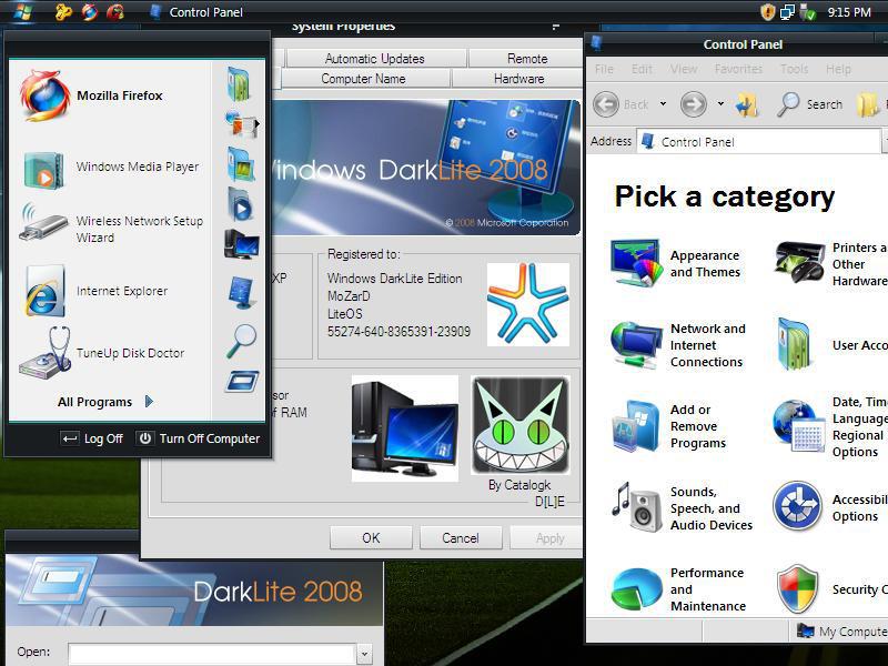 theme windows xp darklite