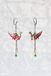 Origami dragon earrings by walking-cripple