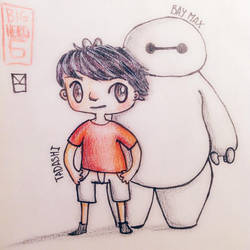 Chibi Tadashi and Bay Max~ :D by BlackCatBF