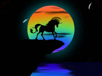 Unicorn infront of moon by maja-isfab
