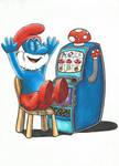 Papa Smurf Plays The Pokie by ShayneMurphy