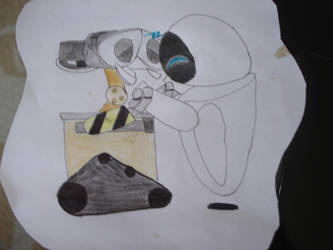 wall.e and eve kiss by babi--s