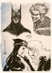DC Marvel sketches by effix35