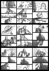Kratos vs Thanos sketch pages by rymslm