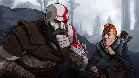 Spider Verse meme - Kratos and Boy by rymslm