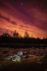 Night on Drava river  by giantrider8