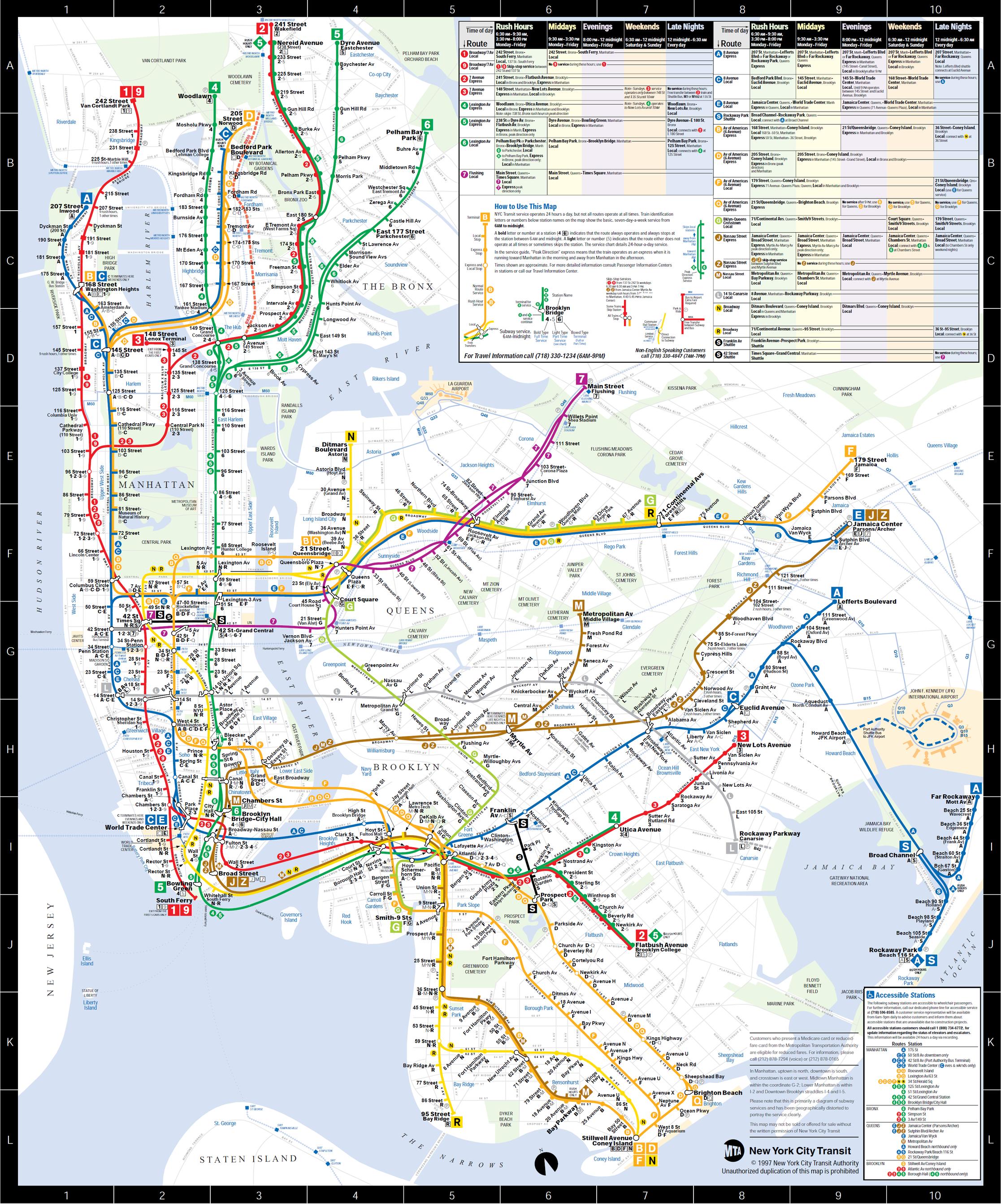 MTA Nyc Subway Map 1997 by JohnG15 on DeviantArt