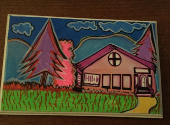 Pink House - Wood plaque by margypargie