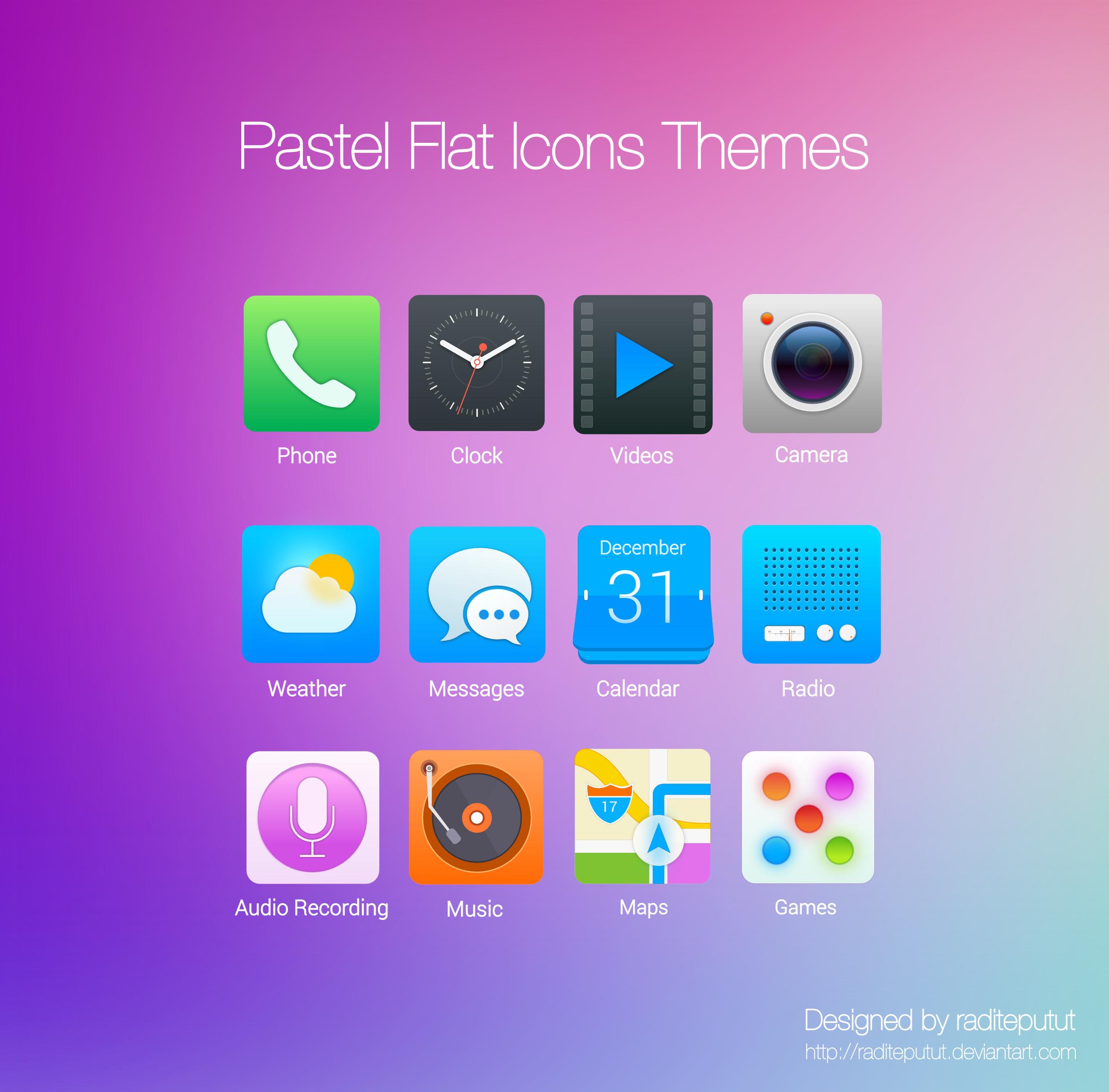 Pastel Flat Icons Themes by raditeputut
