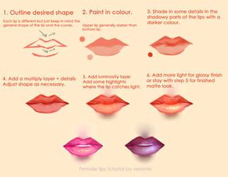 Tutorial - Semi-realistic female lips by Velsinte