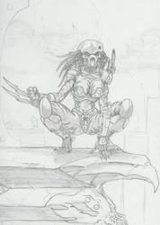 Female Predator sketch by -vassago-