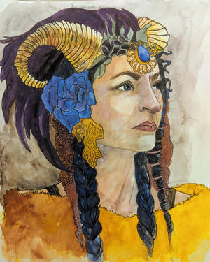 Portrait with horns by Abolling
