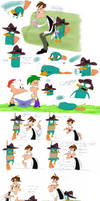 Platypus Day Sketchdump- Colored Version! :D by SecretagentG