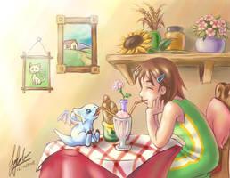 Sharing a Milkshake by Kiraneko