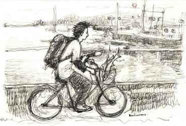 mini-sharks on bike. by koony
