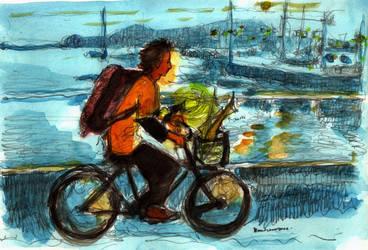 sharks on bike watercolor. by koony