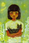Girl and strange cat. by koony