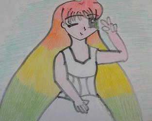 The Girl with the Rainbow Hair by Llama-lady