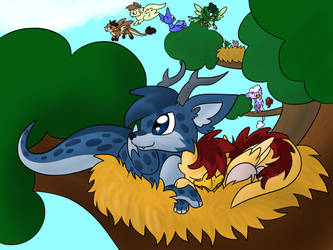 Pack Of Furry Dragons by Usagi-Zakura