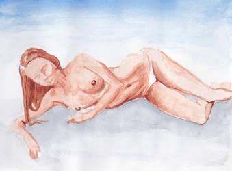 watercolor nude sketch by yalchinosis