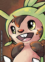 pokemon aceo chespin by tikopets