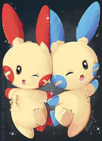 Plusle and Minun Helping hand! by tikopets