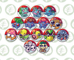 first generation grass type pokemon button designs by tikopets