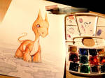 train painting , the little grumpy dragon by tikopets