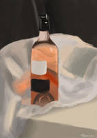 Wine Bottle (Digital) Painting by Saza-Productions
