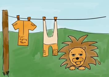 Bored Orange Lycra Lion - Tableau by Saza-Productions