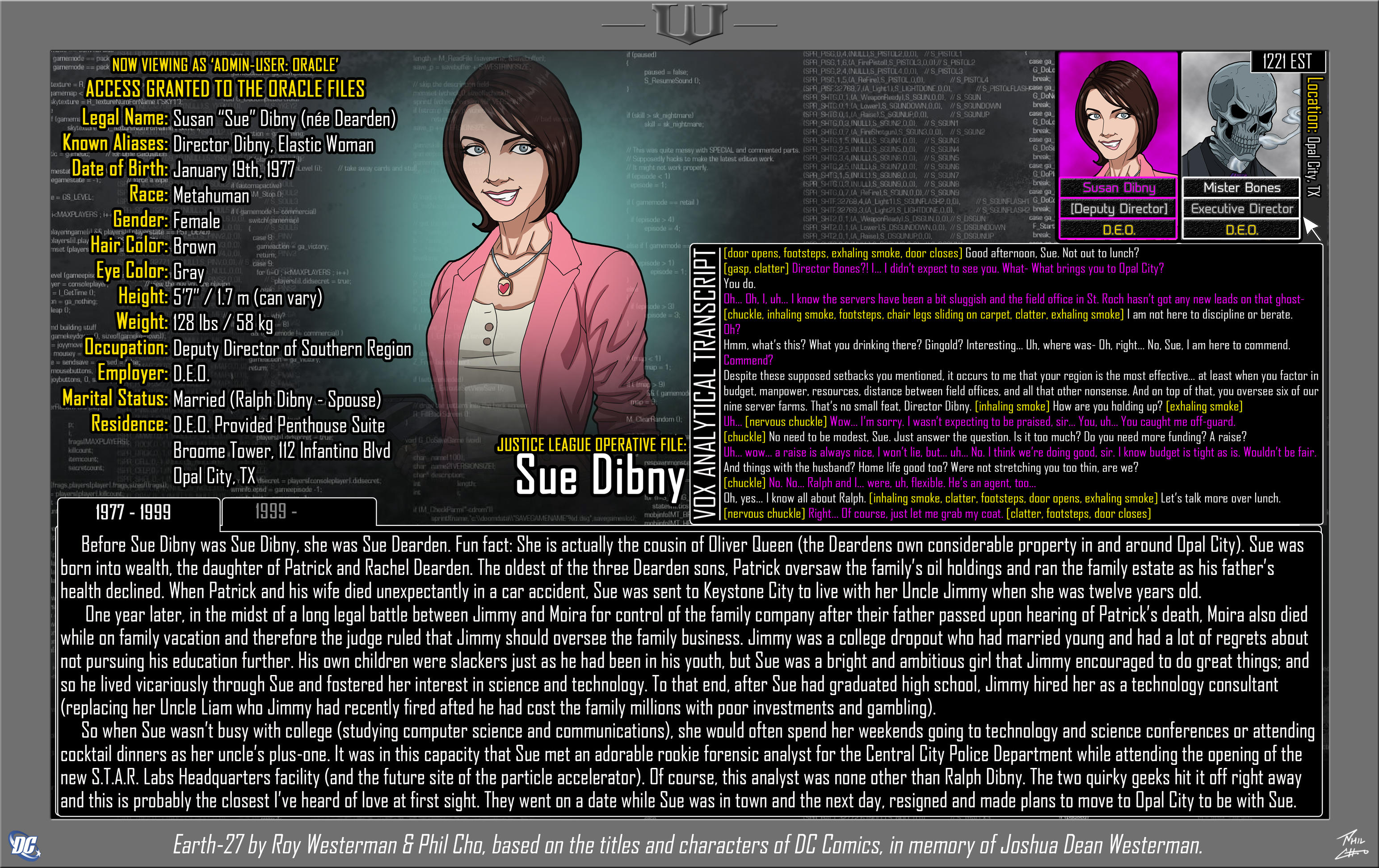 [Earth-27: Oracle Files] Sue Dibny (1/2) by Roysovitch