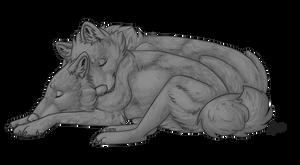 FREE Wolf Cuddle Template by Atani1