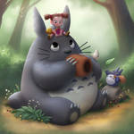 Relaxing With Totoro by LuigiL