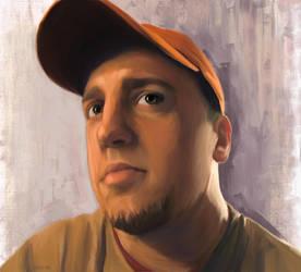 Self Portrait with orange hat by cgreene