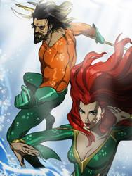 Aquaman and Mera by CHUBETO