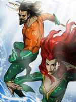 Aquaman and Mera by CHUBETO