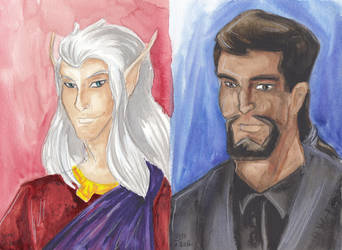 Gargoyle Portrait Puck and Xanatos by WaldelfLarian