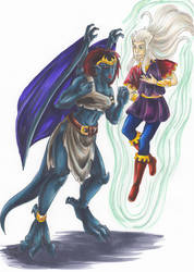 Gargoyle Demona and Puck by WaldelfLarian