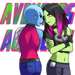 Avengers Academy: Gamora and Nebula by Evelynism