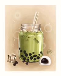 Matcha milk tea by MeganMissfit