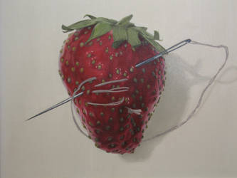 Sewing A Strawberry by peterswiftart