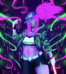 {Fan Art} Neon Akali + SpeedPaint by NightmareQueenKasei